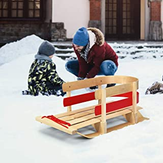 Nightcore Baby Pull Sled 木制雪橇拉动方向盘带弯曲靠背和滑轨,雪橇 带实木座椅拉绳,便携式木雪橇,适用于儿童幼儿