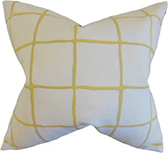 """The Pillow Collection Owen Checked 欧式枕套黄水晶 """"Multi"""" King/20"""" x 36"""" KING-ROB-PAINTEDCHECK-CITRINE-C100"""