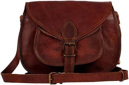 JAYSS HIDES 手工纯皮革棕色邮差/斜挎包适合女孩和女士皮革。