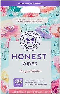 The Honest Company Designer 婴儿湿巾 | 玫瑰花 | 超过 99% 的水 | 纯净温和 | 植物 | 不含香料 | 超厚耐用的湿巾 Rose Blossom 288 Count