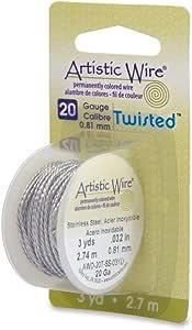 Beadalon 20-Gauge Twist Round Artistic Wire, 3-Yard, Stainless Steel