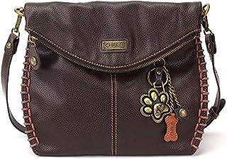Chala Charming 斜挎包带拉链盖顶盖和金属链 - 深棕色