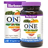 Bluebonnet Nutrition Men's One Vegetable Capsules, Whole Food Multiple, K2, Organic Vegetables, NSF True North, Non GMO, Gluten Free, Soy Free, Milk Free, Kosher, 90 Vegetable Capsules, 3 Month Supply