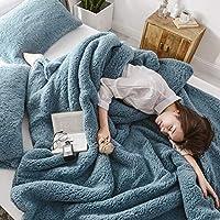 婉寇 简约纯色羊羔绒多功能三件套毛毯 被套+枕套2只 法兰绒盖毯单人双人办公室小盖毯毛巾毯OB (优雅蓝, 标准款200*230cm三件套-5斤)