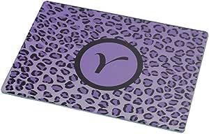 "Rikki Knight RK-LGCB-2650 Purple Leopard Print Glass Cutting Board, Large, Monogram""Y"", Sky Blue"