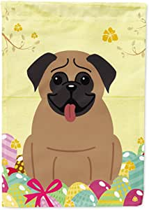 Caroline's Treasures BB6005CHF 复活节彩蛋 Pug Brown Flag Canvas House,大号,多色