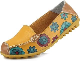 Ablanczoom 女式舒适皮革花卉印花平底鞋休闲驾驶乐福鞋女式步行鞋 黄色 11
