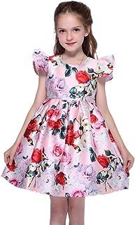 女孩连衣裙 圆领背部隐形拉链双层花瓣袖 2-8 岁儿童秋季夏季春季派对连衣裙