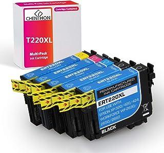 CHENPHON 再生墨盒替换件适用于 Epson 爱普生 220XL 220 T220XL 爱普生 Workforce WF2630 WF2650 WF2760 WF2660 WF2750 AIO 喷墨 Expression Home XP420 XP424 XP320 照片打印机 5 包