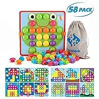 Fansteck 马赛克木栓板,颜色匹配按钮艺术早期学习教育玩具适合幼儿,** ABS 塑料优质材料,12 张图片和 46 个按钮,带一个便于存放的包
