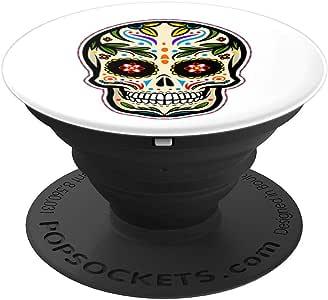 万圣节糖骷髅艺术 Dia De Los Muertos Dead PopSockets 手机和平板电脑握架260027  黑色