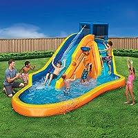 充气水滑梯 – 大型儿童游泳池(14 英尺长,8 英尺高),内置洒水器波浪和篮球箍 – 重型户外水上爆炸泻湖 – 包括鼓风机