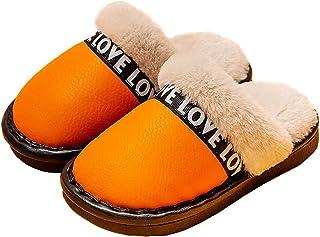 FSIGOM 儿童冬季棉质鞋,Kid Baotou Plus 天鹅绒防水防滑羊绒棉鞋,男孩和女孩冬季家居棉拖地鞋