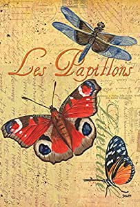 Toland Home Garden Les Papillons 28 x 40 Inch Decorative Summer Flying Butterfly Postcard House Flag