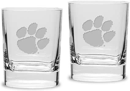 University Glass NCAA 克莱姆森老虎成人套装 5.796g 方形双旧时尚眼镜深蚀刻刻刻,均码,透明