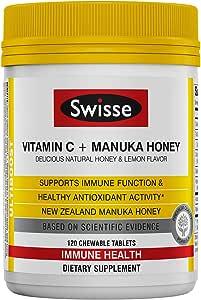 Swisse Ultiboost 维生素C和麦卢卡蜂蜜   富含抗氧化剂   120 片咀嚼片