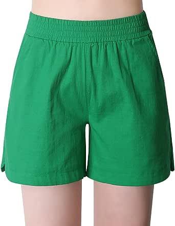 AUSZOSLT 女式棉麻弹性腰部 百慕大休闲沙滩散步短裤 草绿色 US 10