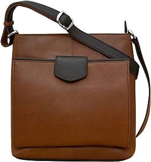ili New York 6593 皮革收纳包斜挎包,配有可调节肩带和 RFID 屏蔽衬里