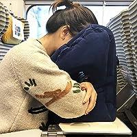 旅行睡觉必备旅游神器 便携式长途飞机充气枕头便携充气u型抱枕办公室午睡靠枕 (藏青色)