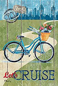 Toland Home Garden Rustic Let's Cruise 28 x 40 Inch Decorative City Bicycle Basket Bike House Flag