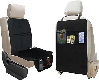 lebogner 汽车座椅保护罩 + 踢垫汽车座椅靠背保护罩带 3 个收纳袋,耐用优质座椅套 + 防水防踢保护你的皮革和坐垫免受*