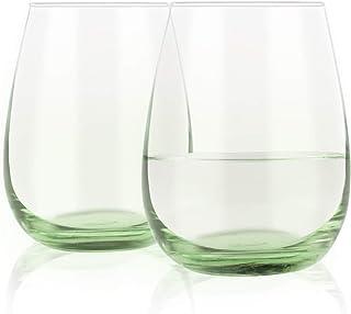 2 件套彩色无柄酒杯 15 盎司(约 444 毫升),带*底的酒杯 - 送给女士男士朋友、姐妹情侣同事的完美礼物 - 生日婚礼订婚圣诞节礼物