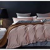 SLEEPBELLA 被套套装,1000 支埃及长绒棉被双面棉缎 Light Coffee&dark Grey Queen