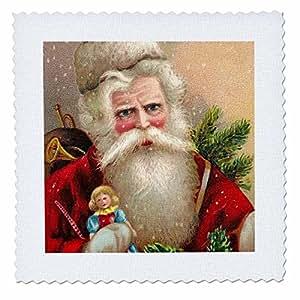 VintageChest - Christmas - Vintage Santa Claus with Doll - Quilt Squares