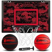 AND1 室内篮球框 - 18 x 12 英寸(约 45.7 x 30.5 厘米)迷你篮球框 - 门上,便携,易于安装 - 适合儿童和成人的游戏套装