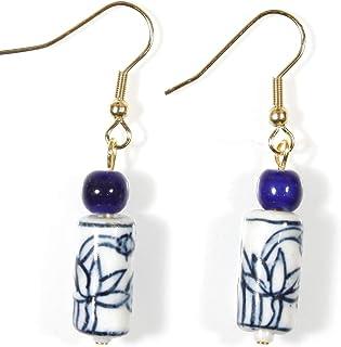 风格 ARThouse 莲花池,中国蓝色和白色陶瓷耳环 夏日设计