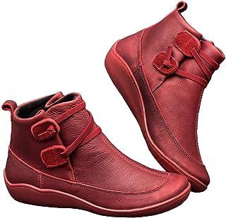 WZIKAI 女式皮革系带低跟平底及踝靴舒适防水徒步拉链鞋