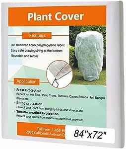Agfabric 植物套冻霜罩保护袋灌木夹克,各种尺寸和厚度,适合寒冷冬季 84''x72'',1.5oz 白色 E158472WC