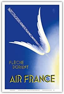 """东箭头 (Fleche D'Orient) - 法国 - 巴黎,斯特拉斯堡,恩堡,普拉哈,华沙 - 加雷托复古航空旅行海报 c.1936 - 艺术大师印刷 12"""" x 18"""" PRTB3276"""