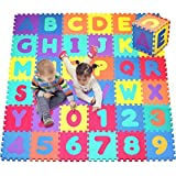 Click N' Play,字母和数字泡沫拼图游戏垫,36 个瓷砖(每个瓷砖尺寸为 30.48 X 30.48 厘米,覆盖面积为 91.44 平方英尺)