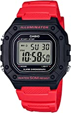 Casio 卡西欧男式'经典'石英不锈钢和树脂手表,颜色:红色(型号:W-218H-4BVCF)