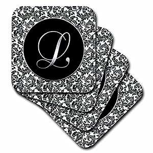 CST _ 38761DOREEN erhardt 字母系列–字母 L–黑色和白色锦缎–杯垫