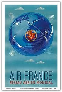 """Recrecau Aérien Monet(全球航空网) - 法国 - 复古航空旅行海报,Atelier Perceval Editions Paris c.1950s - 艺术大师版画 12"""" x 18"""" PRTB3441"""
