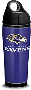 Tervis 1325558 NFL Baltimore Ravens - Touchdown 隔热玻璃杯带包裹和黑色旅行盖,453.59 g - Tritan,透明 银色 24 oz Water Bottle - Stainless Steel 1324241