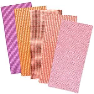 dii 100% 棉, drying 和*,日常厨房基本,21.59cmx27.94cm 重量级餐具 CLOTHS 组合礼品套装 of 4- 夏季格子