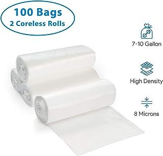 7-10 加仑透明垃圾袋 - 小号 - 中号 垃圾桶衬垫 - 高*,8 微米 - 适用于办公室、家庭、*、工业垃圾筐 - 无芯卷 100 Pack