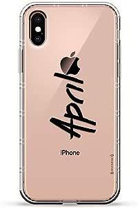 Luxendary Air 系列透明硅胶保护套 3D 印花设计气袋缓冲缓冲 iPhone Xs/X(5.8 英寸屏幕)LUX-IXAIR-NMAPRIL1 NAME: APRIL, HAND-WRITTEN STYLE 透明