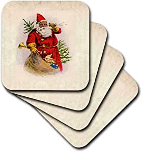 3dRose cst_62169_2 Illustration of African American Santa Claus-Soft Coasters, Set of 8
