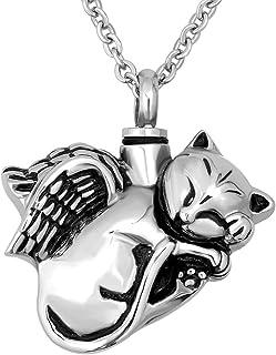 CoolJewelry Urn 项链 Ashes 宠物脚印纪念品 猫形 Cremation 心形纪念珠宝 带填充套件