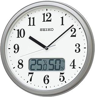 セイコークロック 掛け時計 銀色メタリック 本体サイズ:直径31.1×5.1cm 電波 アナログ 温度 湿度 表示 KX244S