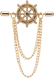 AN KINGPiiN 水晶船方向盘带链翻领别针,胸针西装铆钉,衬衫铆钉男士配饰