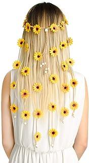 CEREALY 花朵嬉皮头带花卉皇冠 – 串珠可调节花朵头饰婚礼发饰 适合女孩女士