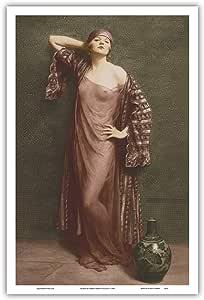 "Pacifica Island Art Yasmin,肖像 - 经典复古法国裸体 - 手色有色艺术 - Albert Henry Collings 法国明信片 c.1905 - 艺术大师印刷 12"" x 18"" PRTB8011"