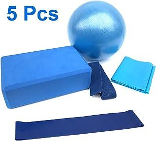 5 件瑜伽套装初学者设备包括健身迷你瑜伽球(10 英寸)瑜伽砖拉伸带阻力环锻炼瑜伽棉带
