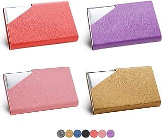 HOSTK 4PCS 名片夹,名片夹,专业奢华 PU 皮革和不锈钢名片夹 ID 卡包带磁扣(紫色+红色+粉色+金色)
