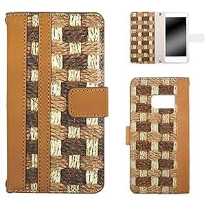 白色边框手机保护壳翻盖式编织纹 No1 3_ Galaxy S7 SC-03H Samsung